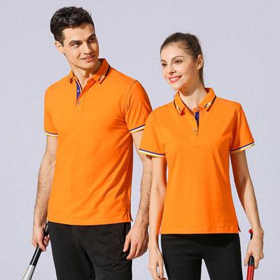 橙色T恤高端定制POLO衫