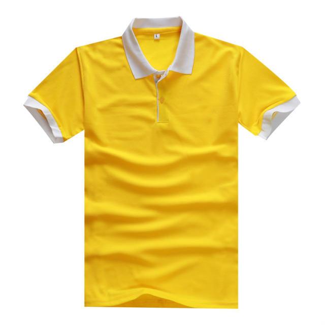 珠地棉拼色领T恤广告衫