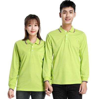 果绿色长袖T恤男款女款POLO衫