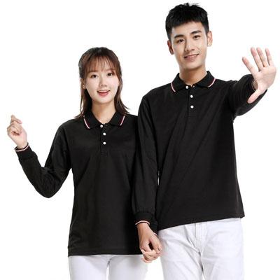 黑色长袖T恤男款女款POLO衫