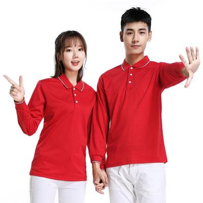 大红色长袖T恤男款女款POLO衫