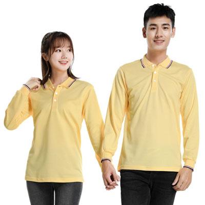 黄色长袖T恤男款女款POLO衫