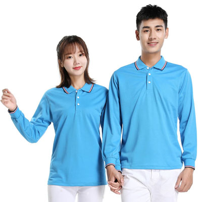 孔蓝色长袖T恤男款女款POLO衫
