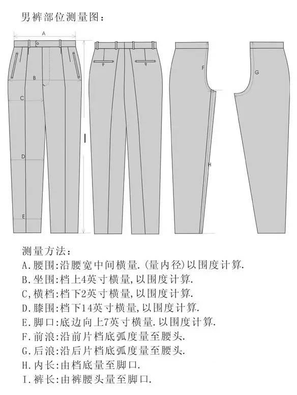 裤子各部分测量