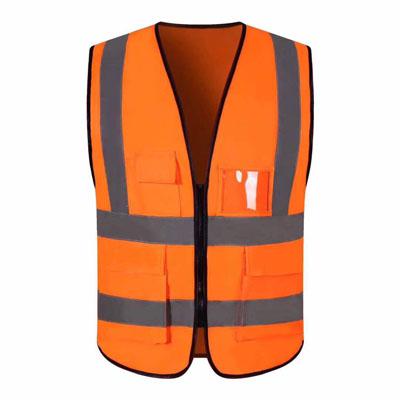 橙色反光背心施工反光马甲