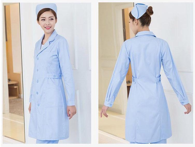 蓝色护士服制服美容师护士服