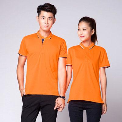 橙色新款POLO衫定制团队工作服