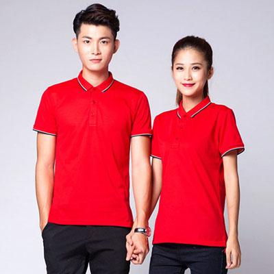 红色新款POLO衫定制团队工作服