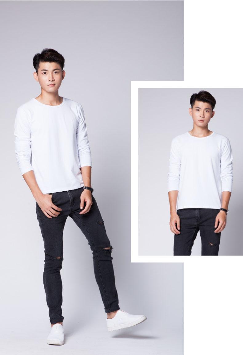 长袖T恤男款白色图