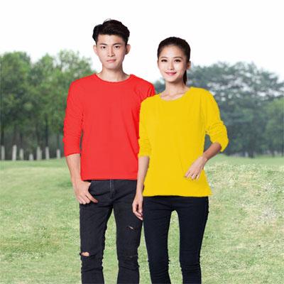 红色圆领长袖T恤男款女款T恤定制