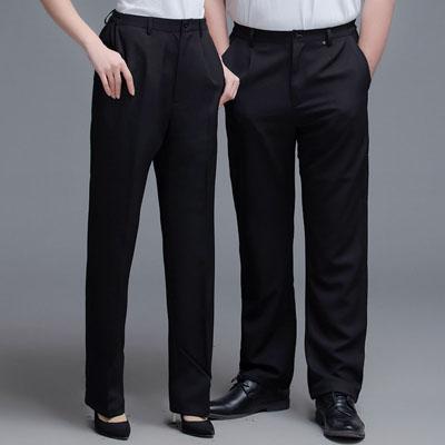 工作裤男女同款皮带尔松紧裤服务员工裤