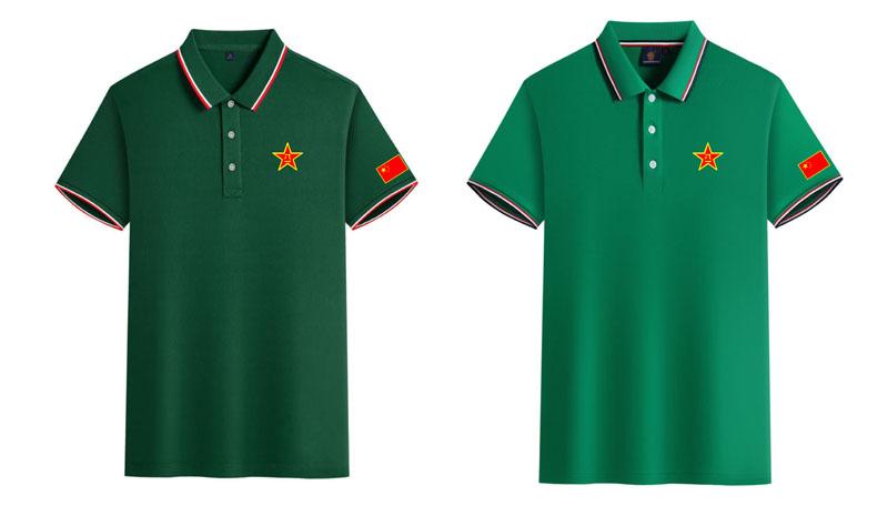 翻领带领军绿色战友T恤图