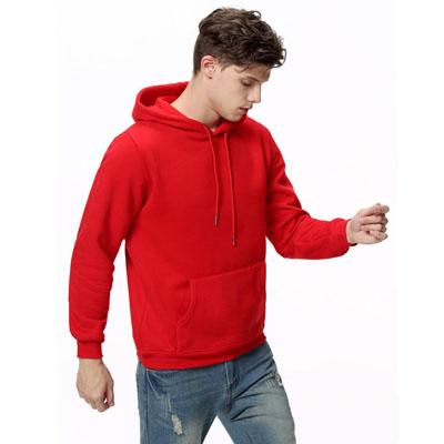 连帽套头卫衣加绒加厚红色工服