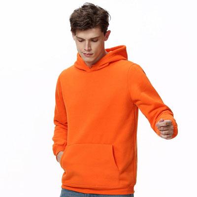 连帽套头卫衣加绒加厚橙色班服