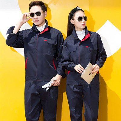 藏蓝色工作服男装立领时尚工服女装