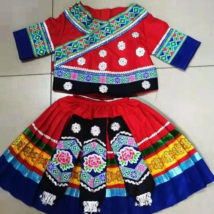 三月三少数民族服装小孩学生表演衣服款式图