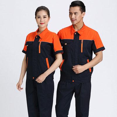 夏季时尚工作服拼色工服男女套装