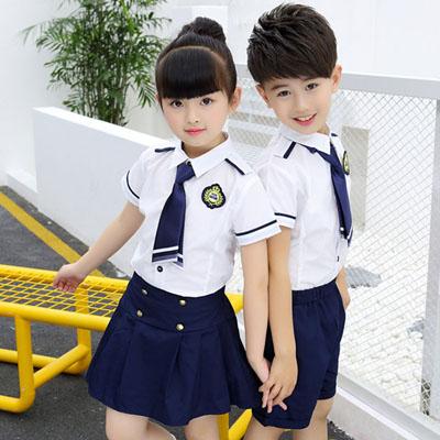 小学生校服夏装衬衫百褶裙短裤套装
