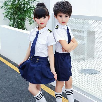 小学生校服夏装园服白衬衫海军款式