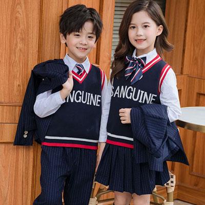 小学生西服新款校服五件套英伦风格